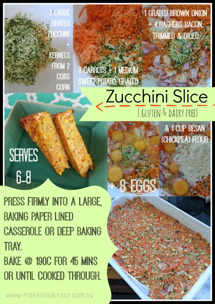 Let the veggie flavour shine through in this #glutenfree #dairyfree Zucchini Slice  #lunchboxideas