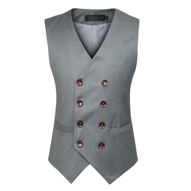 New Fashion Double Breasted Slim Chaleco Sleeveless Cotton Waistcoat Suit Vest Male Dress Vest