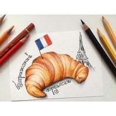 illustration, drawing, pencil, pencil drawing, иллюстрация, рисунок, цветные карандаши, sketch, круассан, булка, эйфелева башня, Париж, франзузская еда, french, french food, croissant,