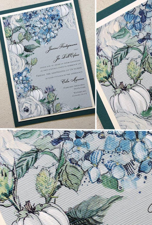 Blue Hydrangea White Pumpkins And Thistle Weddinginvitations