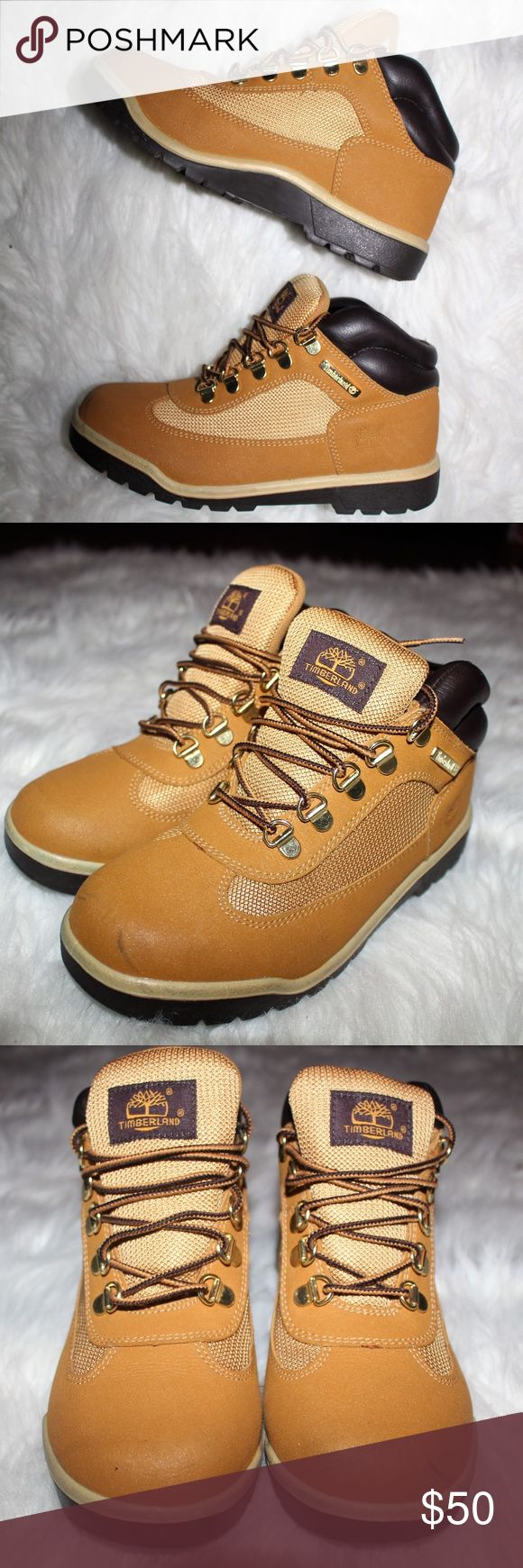 "Timberland | Wheat Field Boots (Boys 5/Women 6.5) ""Weatherproof."" Timberland Field Boots. Small scuff on the front left shoe (see pictures) Excellent condition aside from that. Only worn a few times.   Brand 