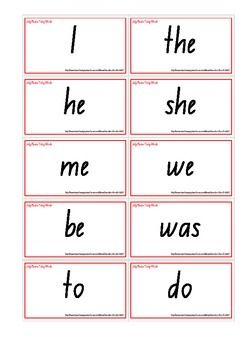 Jolly Phonics Tricky Words Cards - NSW Foundation Font. Snap, Memory, Flashcards, Word Wall