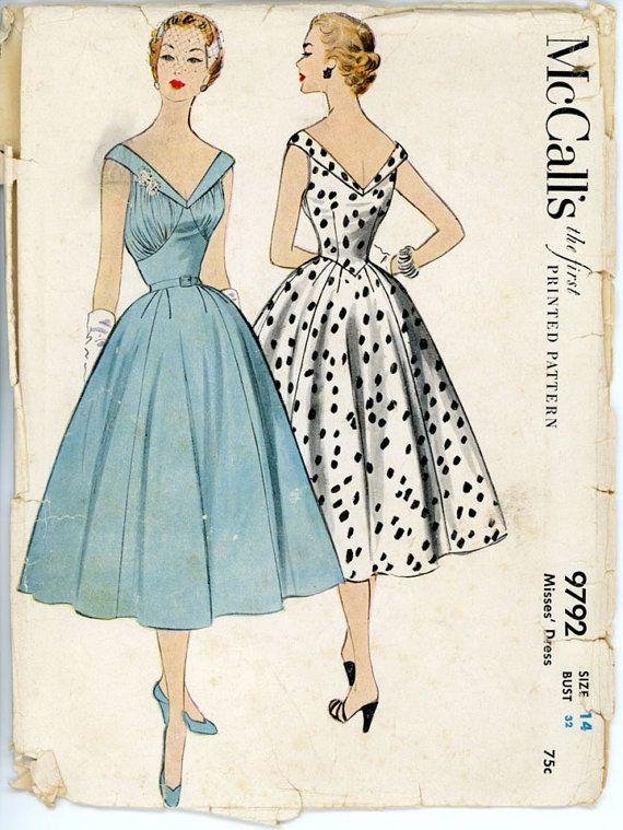 1950s Full Skirt Evening Dress Pattern McCalls 9792 by CynicalGirl