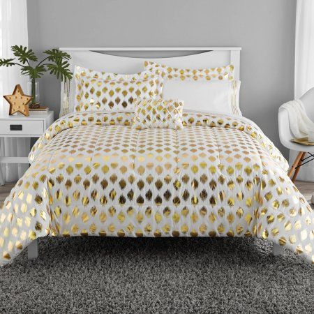 Home In 2020 Gold Bed Comforter Sets Bed In A Bag