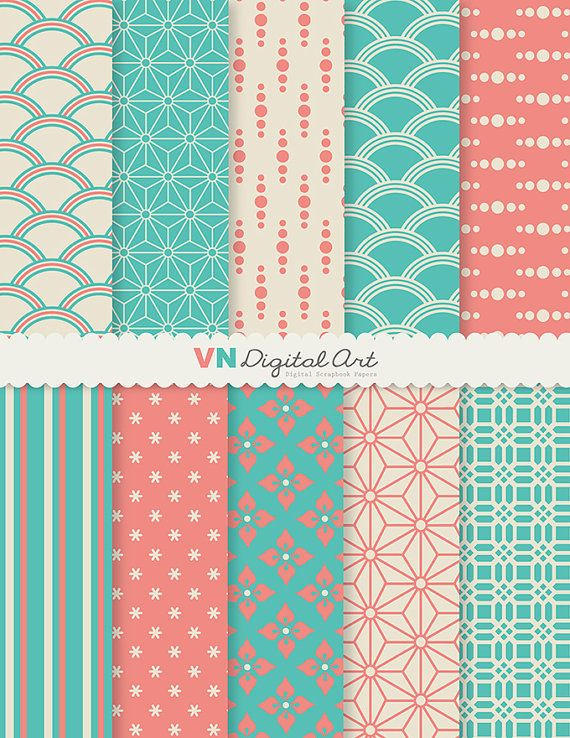 "Digital Paper, Japanese Style Digital Scrapbook Paper Pack (8.5x11""-300 dpi) -- Instant Download -- 10 Digital papers -- 104"