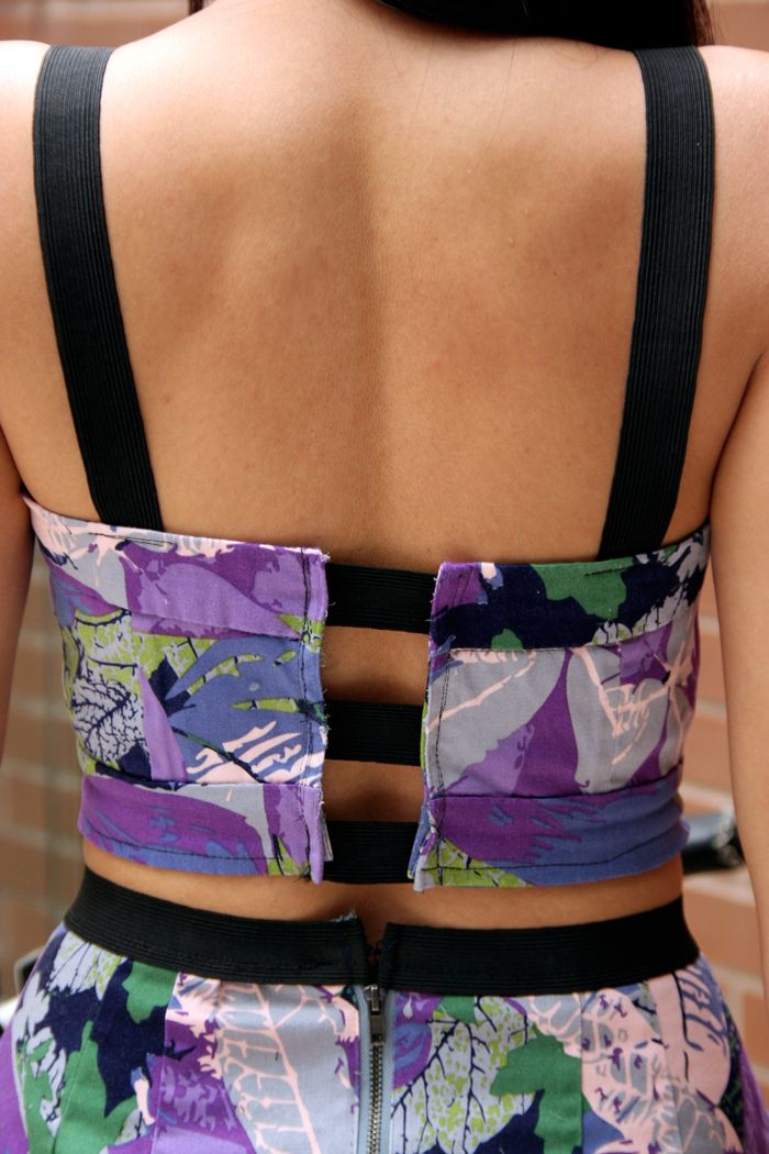 DIY :: Matching Cropped Top and skirt, backless, crop top, matching, prints