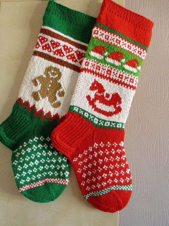 Christmas Stocking Personalized Hand Knit Vintage Gingerbread Boy Stocking