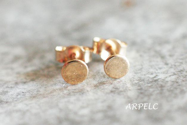 ♥4mm okrągłe złote kolczyki, 585 złoto kropki - arpelc - Kolczyki wkrętki złote