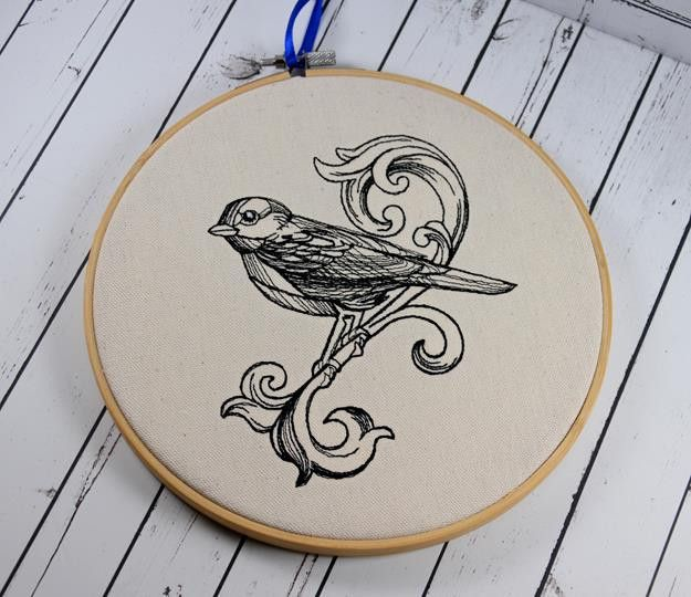 """Bird Scroll Hoop Art - Machine Embroidered art, framed in an 8"""" bamboo hoop, and ready to hang."""