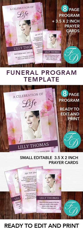 51 best Pink Funeral Program Templates images on Pinterest - funeral pamphlet templates