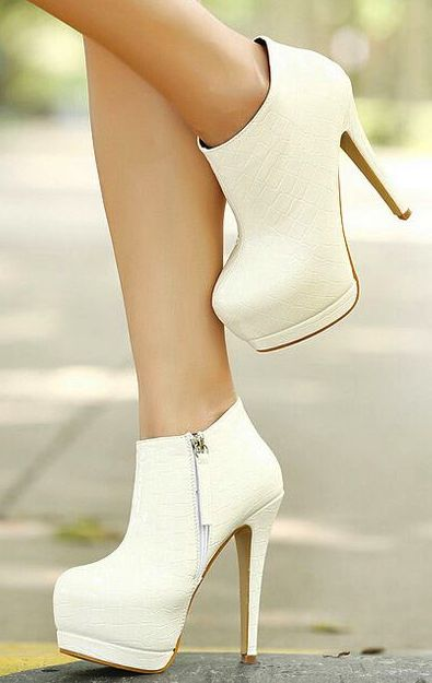 Gorgeous White High Heels Boots