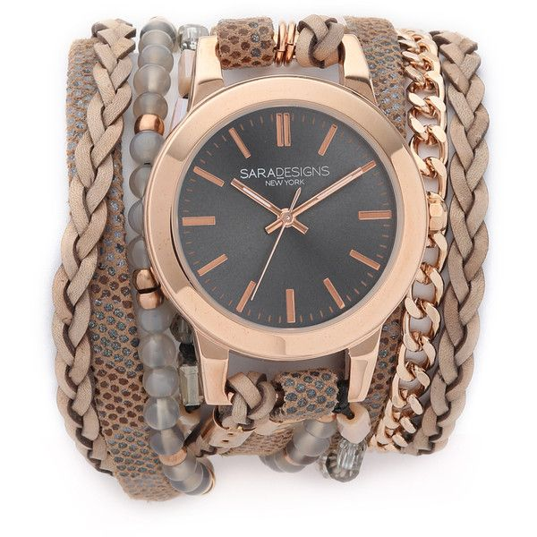 Sara Designs Farrah Wrap Watch ($330) ❤ liked on Polyvore featuring jewelry, watches, leather wrap watch, polish jewelry, leather watches, water resistant watches and sara designs