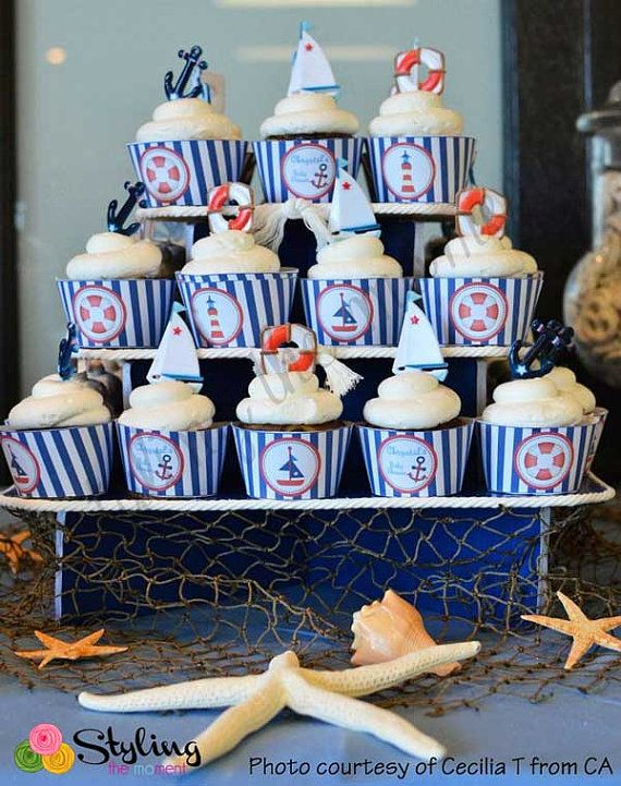 Nautical Cupcake Wrappers by Stylingthemoment on Etsy, $6.50