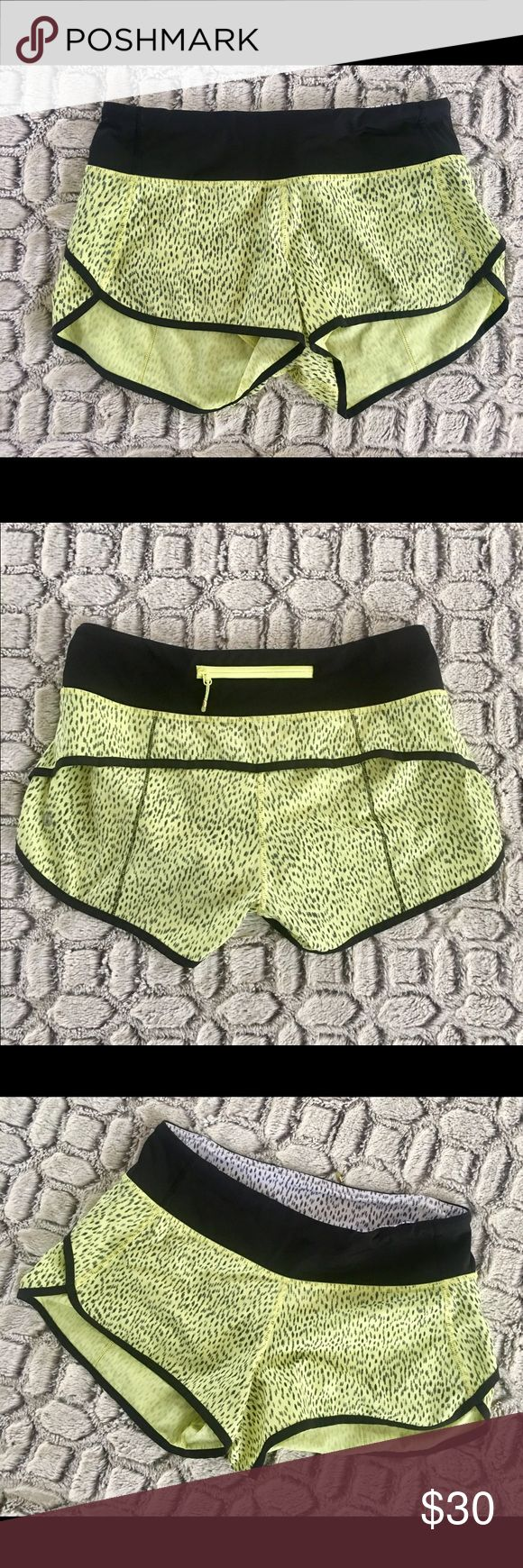 lululemon Neon Running Shorts - Size 4 lululemon Neon Running Shorts - Size 4. Gently used; excellent condition. No rips, tears, or stains. lululemon athletica Shorts
