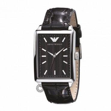 Ανδρικό ορθογώνιο quartz ρολόι του οίκου EMPORIO ARMANI με μαύρο δερμάτινο λουρί και μαύρο καντράν | Ρολόγια EMPORIO ARMANI ΤΣΑΛΔΑΡΗΣ στο Χαλάνδρι #Emporio #Armani #δερμα #λουρι #ρολοι