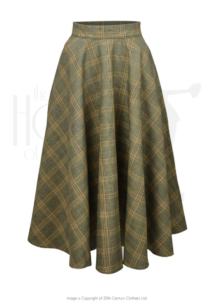 1950s Full Circle Swing Skirt in Autumn Check