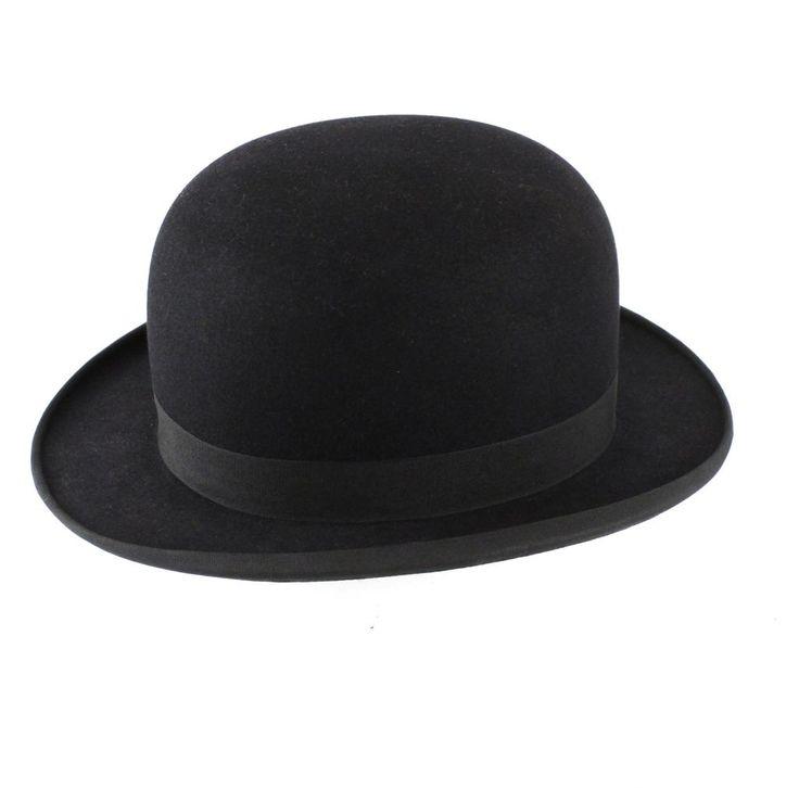 Vintage Longley Felt Black Bowler Hat and Hatbox Sz 6 5/8
