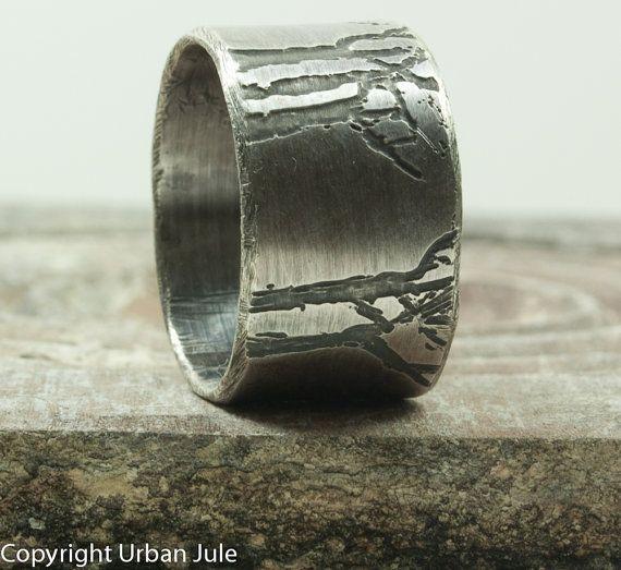 Mens Wedding Band - Tree Ring - Tree of Life - Silver Tree Ring - Tree Ring Man…