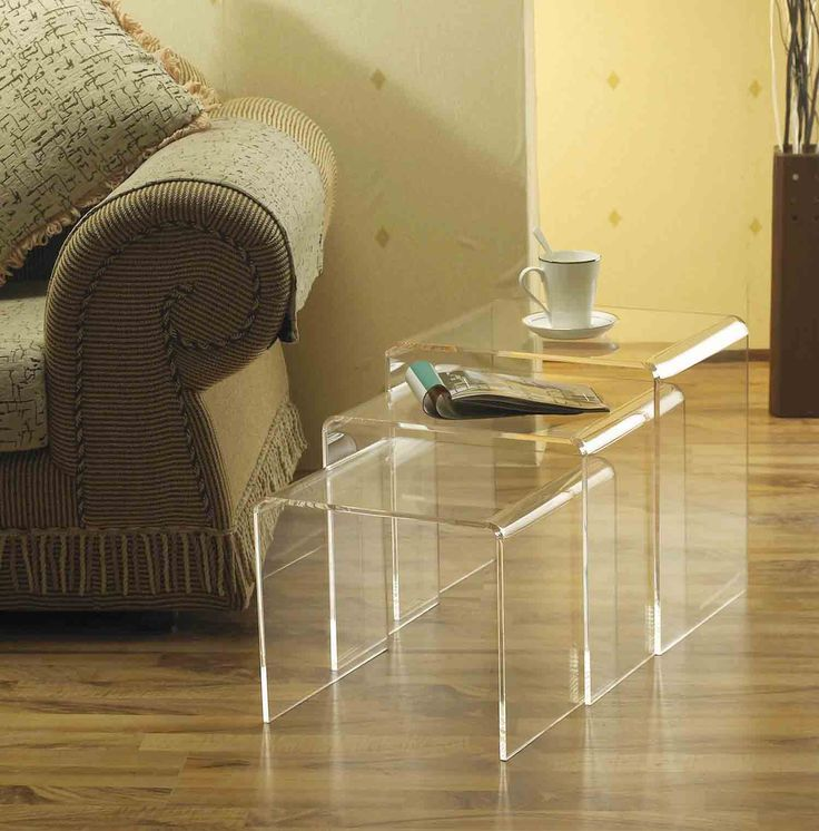 small square table with three variants of size and can be stored into one and very suitable for laying coffee