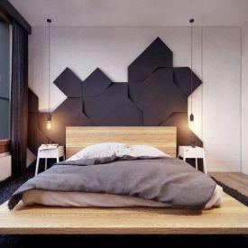 Wizualizacja. Panele Flow w sypialni. Autor: Plaste(R)lina, www.plasterlina.pl