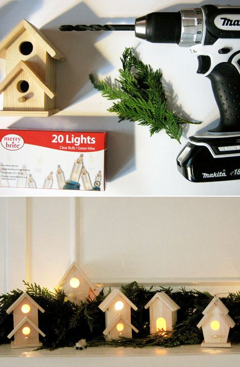 Wooden Village Made From Miniature Birdhouses | 51 Hopelessly Adorable DIY Christmas Decorations