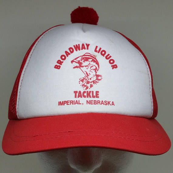 70s 80s Red White Broadway Liquor Tackle Shop Snapback