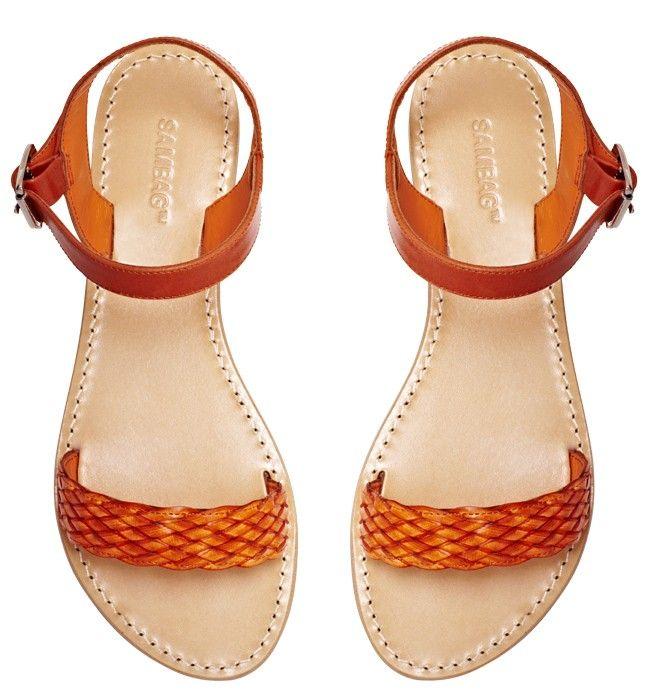 Sambag, Charlie Orange Woven Leather Sandals