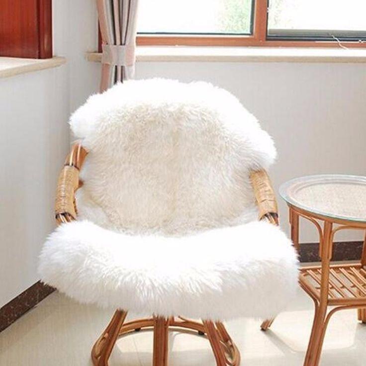 White Soft Faux Sheepskin Chair Warm Hairy Carpet Seat Pad Plain Skin Fur Plain Fluffy Area Rugs Washable Bedroom Mat #Affiliate