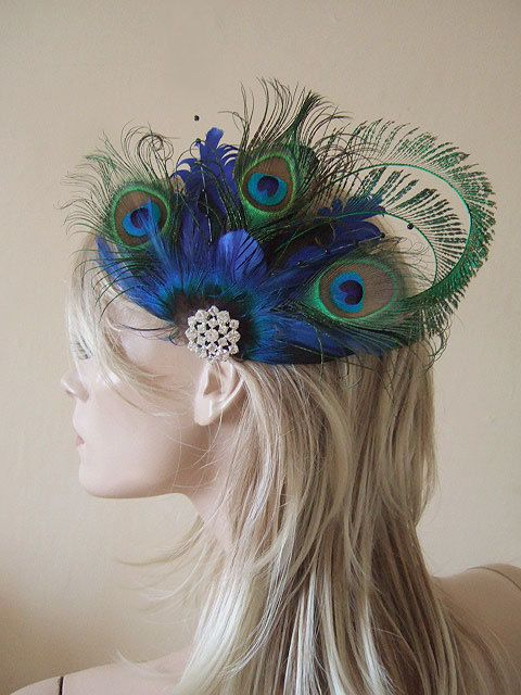 Curled Peacock Feathers Cluster and Crystal Brooch Blue Green Clip Fascinator