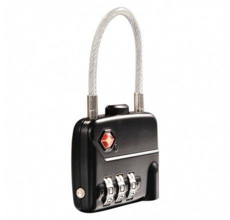 Kodelås med wire til bagasje etc TSA-godkjent, bredt låsehus, Jasit