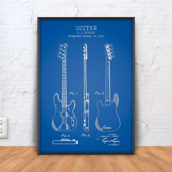 GUITAR patent print guitar poster guitar blueprint by PrintPoint