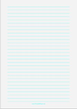 Wide ruled paper with cyan lines on a pale green background. This type of paper can be helpful for people with special needs such as dysgraphia and dyslexia or scotopic sensitivity that makes white paper appear too bright. Free to download and print