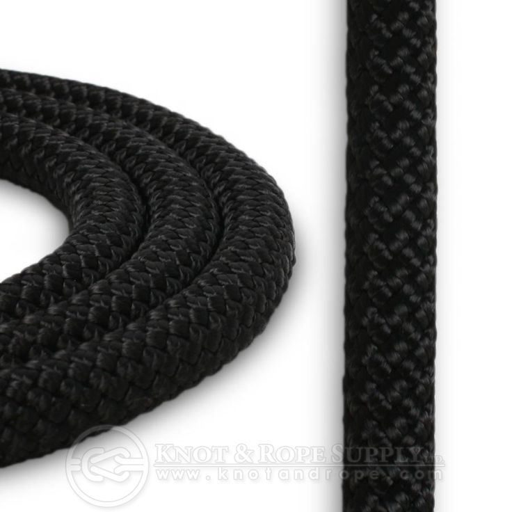 KM-III is a static rope (almost zero stretch) with a continuous filament polyester cover braided over a unidirectional nylon core. This 7/16 size has a tensile strength of 8,000 lbs.