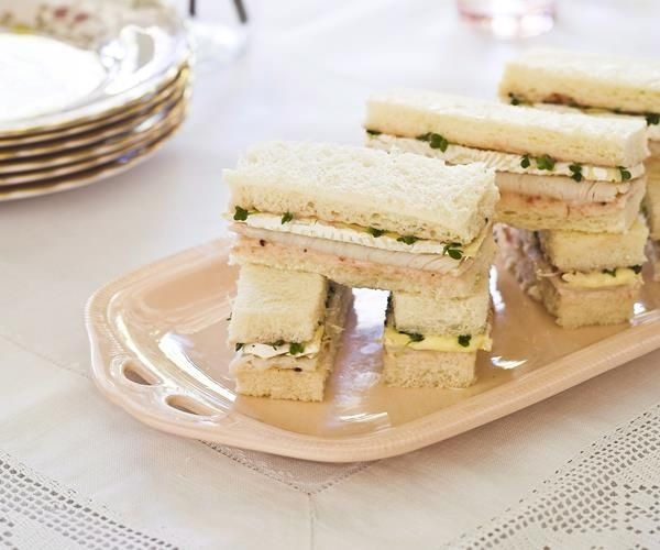 Turkey, brie and cranberry aioli finger sandwiches