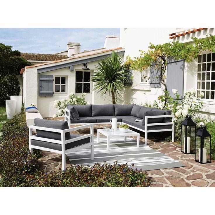 Tuinfauteuil, wit aluminium, grijze bekleding Riviera | Maisons du Monde