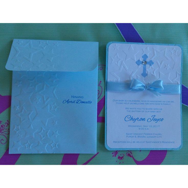 STAR EMBOSSED POWDER BLUE CHRISTENING INVITATION with