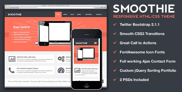 Smoothie - Responsive HTML Theme - ThemeForest Item for Sale