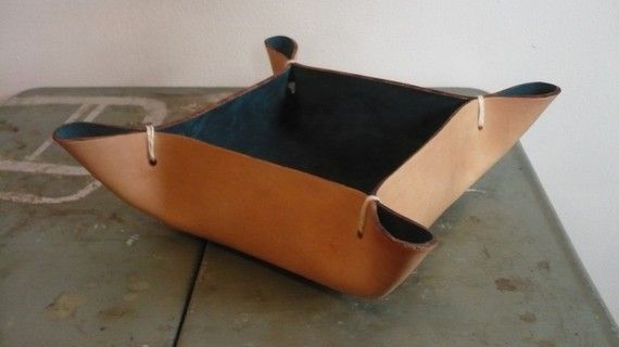 Leather Bowl Everything Catch All by littlewingsdesigns on Etsy