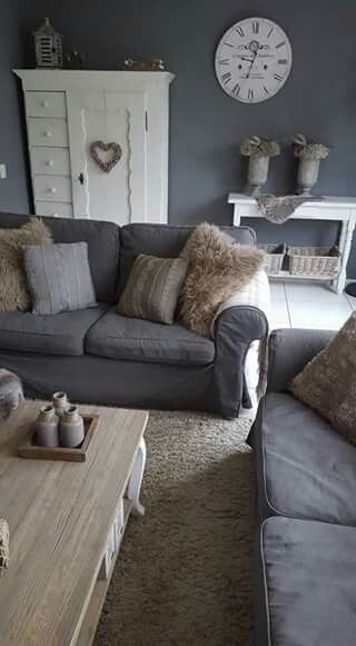 i like the casual look of gray couches with light wood and white