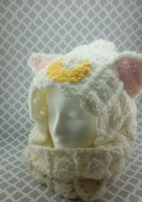 Sailor Moon Crochet Hood/ Artemis Hood/Crochet Hooded by WindWear