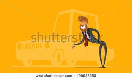 Happy salesman, businessman handing car keys. Stylish businessman-hipster.