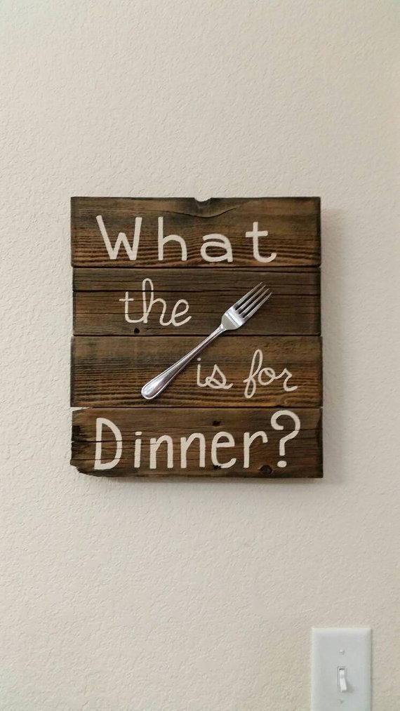 What the 'fork' is for Dinner,  funny reclaimed wood sign for your kitchen.  Gotta love the rustic charm of this reclaimed wood sign hand painted lettering with a real fork.    about 12 x 13 | Shop this product here: http://spreesy.com/SmilesFromLisa/16 | Shop all of our products at http://spreesy.com/SmilesFromLisa    | Pinterest selling powered by Spreesy.com