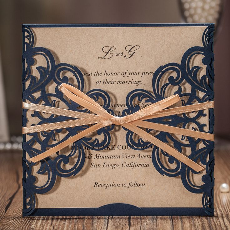 invitation message for wedding in hindi%0A      Laser Cut Wedding Invitation Cards Classic Dark Blue With Hollow  Flower Gold Ribbon for Marriage
