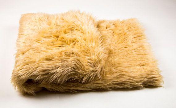108 x 60 Camel faux fur Shaggy Throw Blanket / by fabulessfabrics
