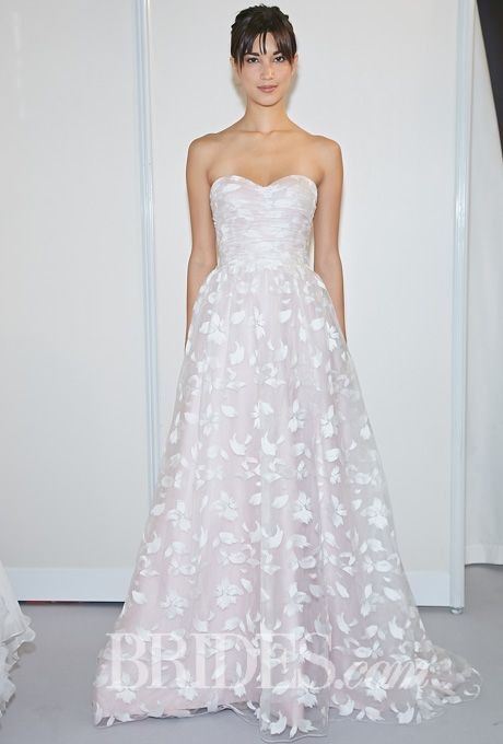 """Brides.com: Lis Simon - Fall 2014. """"Felicity"""" blush """"brush stroke"""" design embroidered net and satin strapless A-line wedding dress with sweetheart neckline and pleated bodice, Lis Simon"""