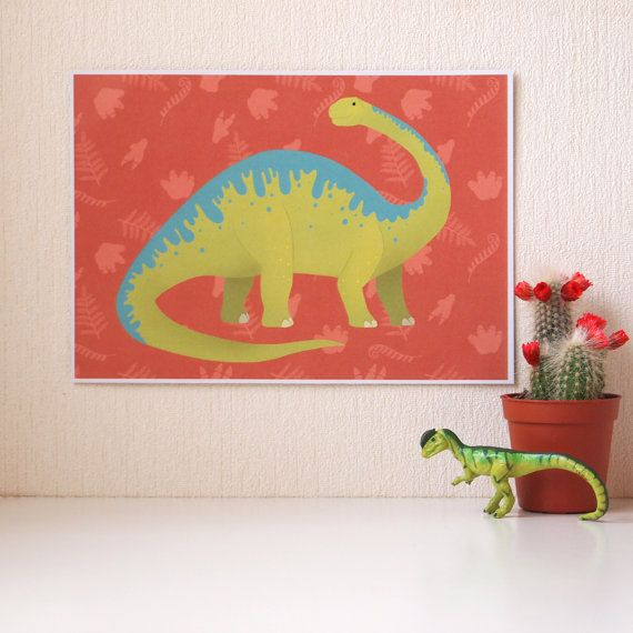 Brontosaurus Dinousaur Art Print A5 size  Christmas by AdelaydeArt
