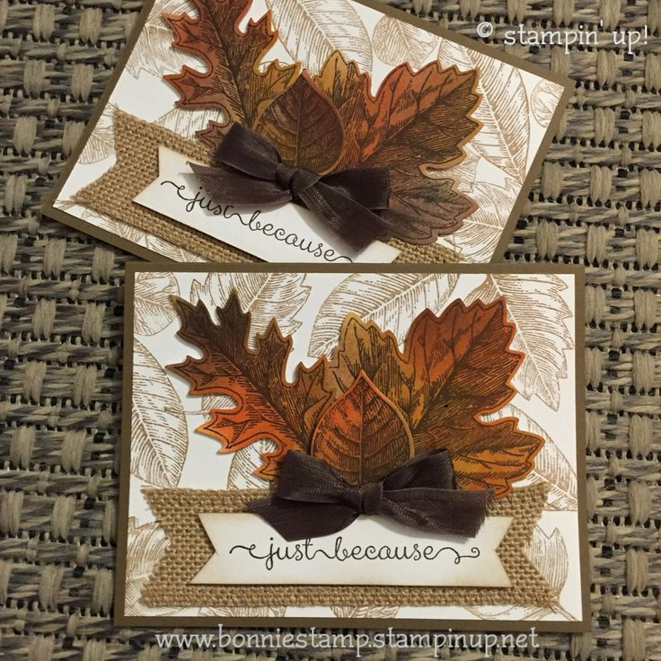 Keep reaching for the SU! #vintageleaves stamp set to create fall themed cards. (Thank you Angela for inspiration)  www.bonniestamp.stampinup.net