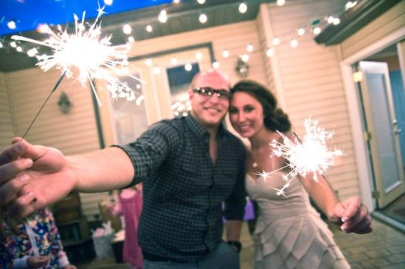Backyard Wedding With Sparklers
