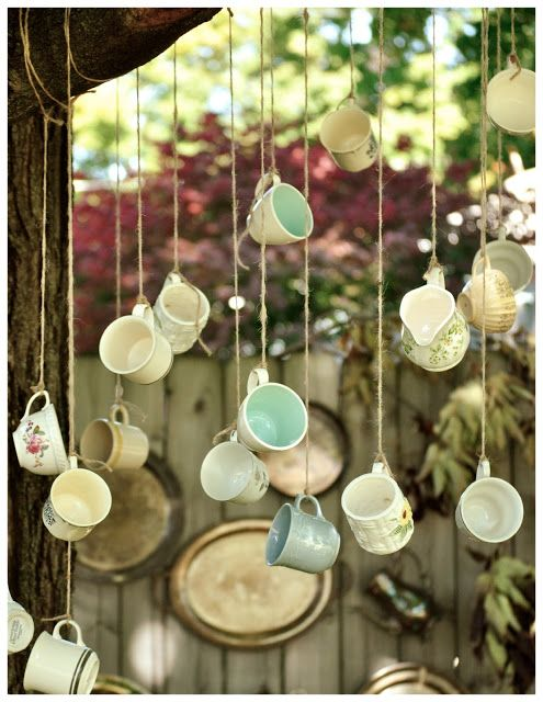 hanging tea cup display
