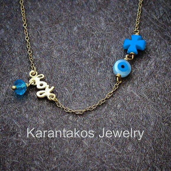 #karantakos #jewelry #jewellery #fashion #design #designer #gold #14k #baby #boy #gifts #gift #christmas #cross #good #luck #happy #italian